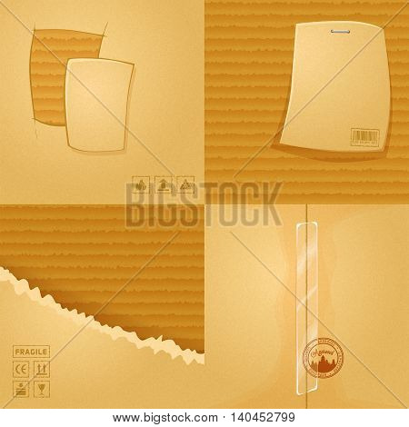 4 сardboard texture. Eps10 vector illustration. Cartoon background