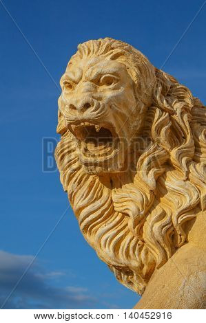 Stone statue of lion guarding Leon Cathedral Nicaragua
