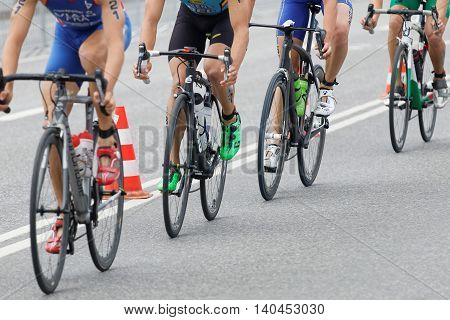 STOCKHOLM SWEDEN - JUL 02 2016: Four colorful triathlete bicycles closeup in the Men's ITU World Triathlon series event July 02 2016 in Stockholm Sweden