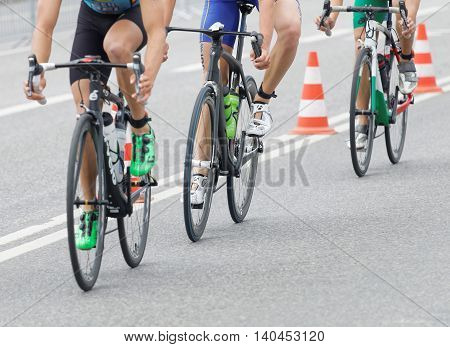 STOCKHOLM SWEDEN - JUL 02 2016: Three triathlete bicycles closeup in the Men's ITU World Triathlon series event July 02 2016 in Stockholm Sweden