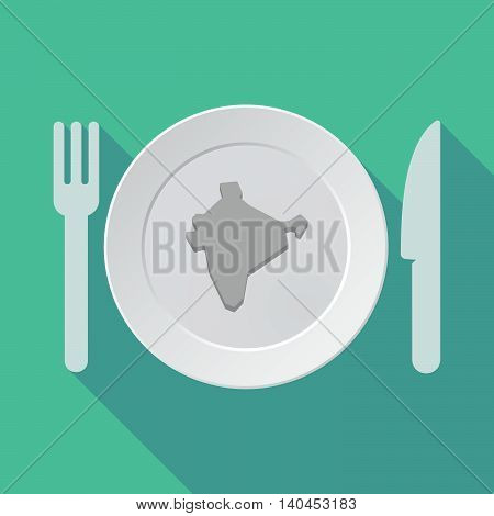 Long Shadow Tableware Vector Illustration With  A Map Of India