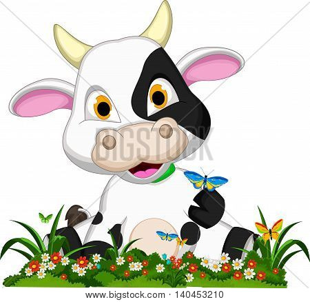 funny baby cow cartoon with butterfly and flower garden