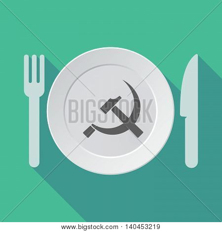 Long Shadow Tableware Vector Illustration With  The Communist Symbol