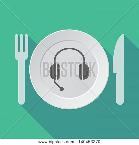 Long Shadow Tableware Vector Illustration With  A Hands Free Phone Device