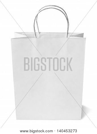 White shopping bag, isolated on White background with copy space