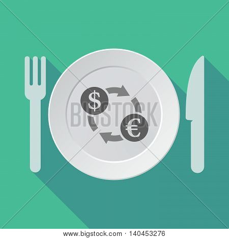 Long Shadow Tableware Vector Illustration With A Dollar Euro Exchange Sign