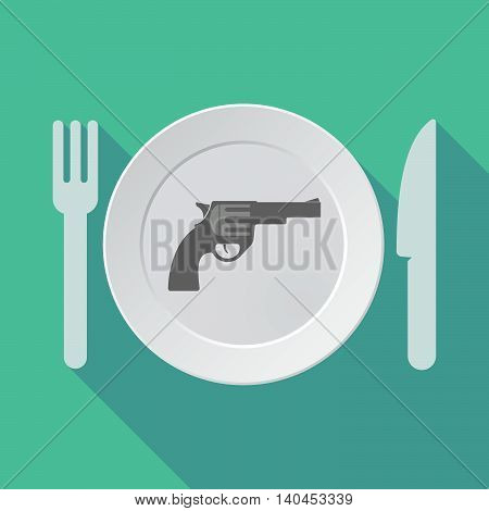 Long Shadow Tableware Vector Illustration With A Gun