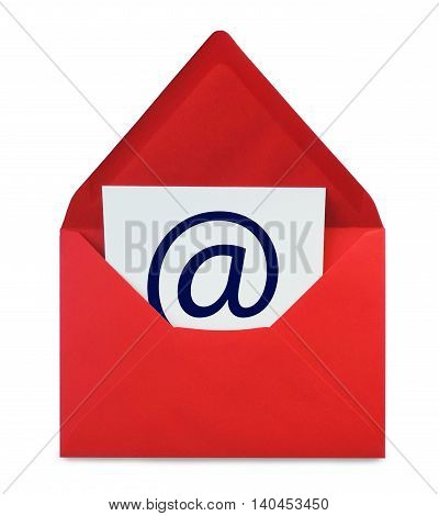 E-Mail, red envelope with web adress symbol, isolated on white.