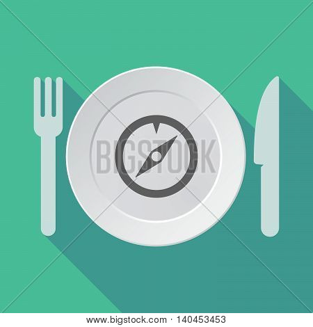 Long Shadow Tableware Vector Illustration With A Compass