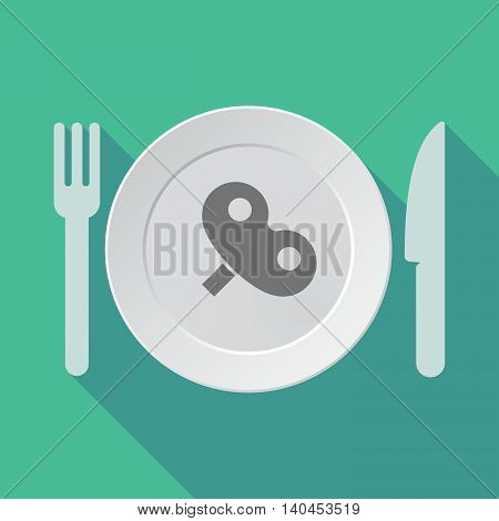 Long Shadow Tableware Vector Illustration With A Toy Crank