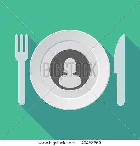 Long Shadow Tableware Vector Illustration With A Female Avatar