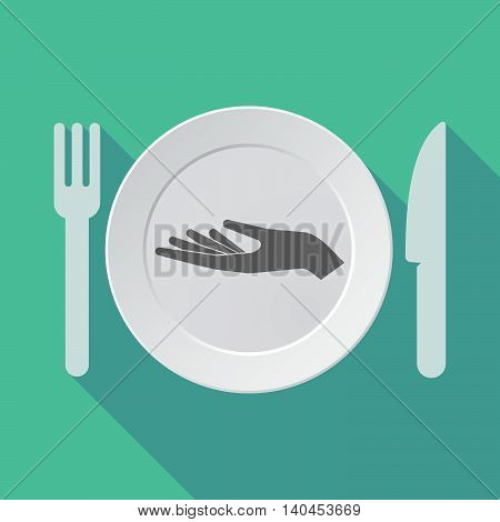 Long Shadow Tableware Vector Illustration With A Hand Offering