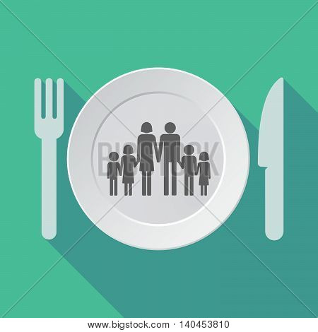 Long Shadow Tableware Vector Illustration With A Large Family  Pictogram