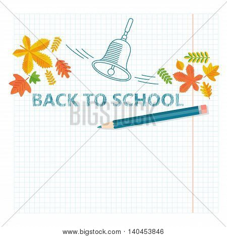 Back To School Banner with lines elements and realistic pencil. Cartoon flat vector illustration. Objects isolated on a white background.