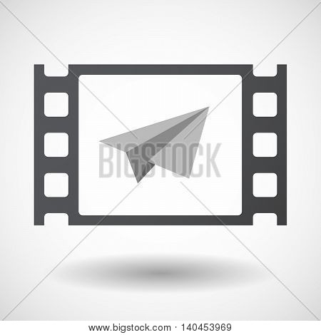 Isolated 35Mm Film Frame With A Paper Plane