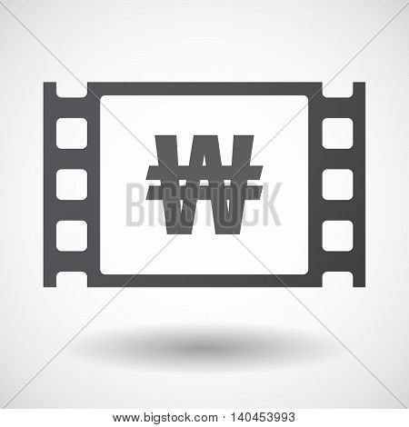 Isolated 35Mm Film Frame With A Won Currency Sign
