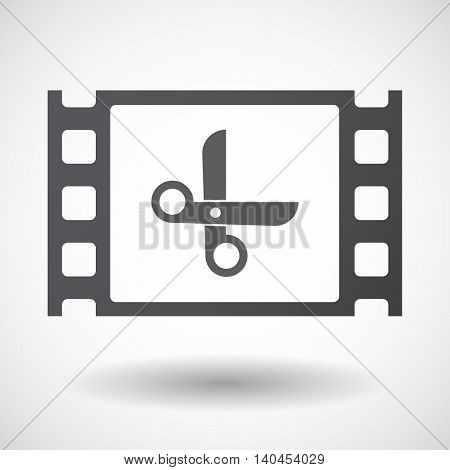 Isolated 35Mm Film Frame With A Scissors