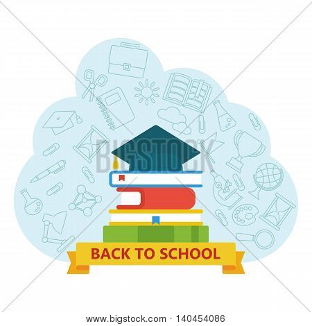 Back to school Logo with school supplies icons. Textures, backgrounds and templates for promotional materials and fabrics. Cartoon flat vector illustration. Objects isolated on a white background.