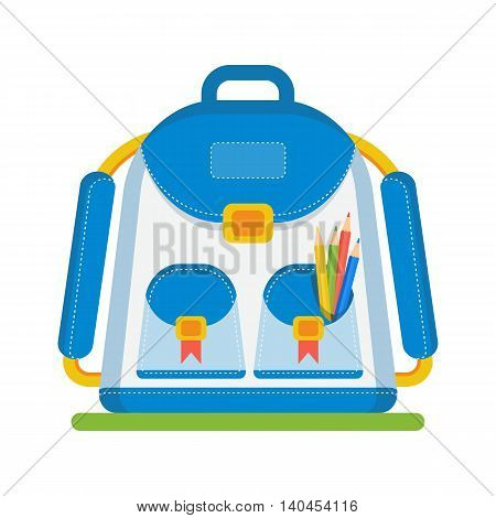 School bag image. Textures, backgrounds, logos and templates for promotional materials and fabrics. Cartoon flat vector illustration. Objects isolated on a white background.