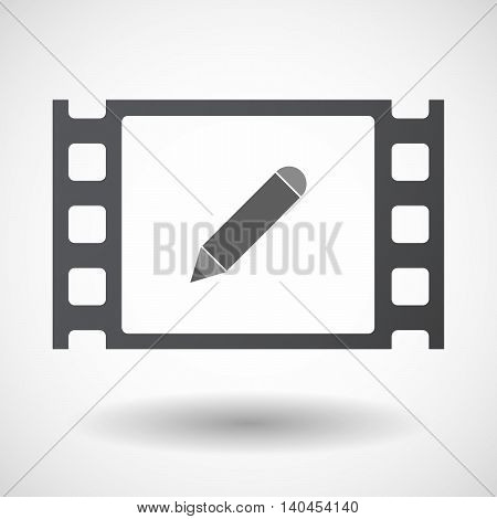 Isolated 35Mm Film Frame With A Pencil
