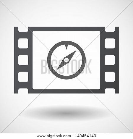 Isolated 35Mm Film Frame With A Compass