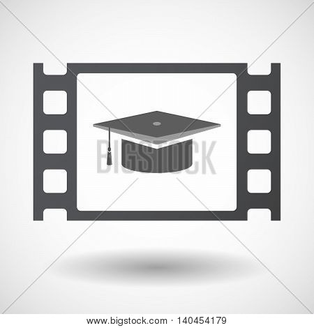 Isolated 35Mm Film Frame With A Graduation Cap