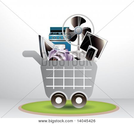 shopping cart with electronics