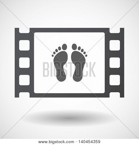 Isolated 35Mm Film Frame With Two Footprints
