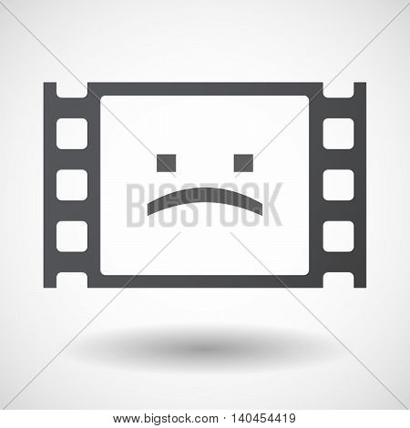Isolated 35Mm Film Frame With A Sad Text Face