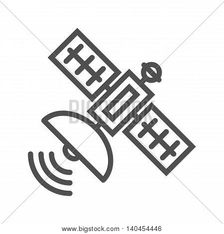 Satellite thin line vector icon on white background.