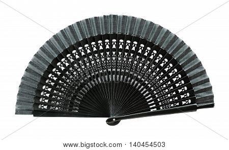 Spanish hand fan, elegant fan, isolated on white