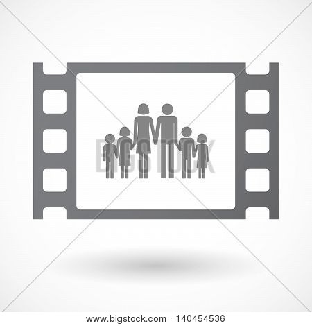 Isolated 35Mm Film Frame With A Large Family  Pictogram