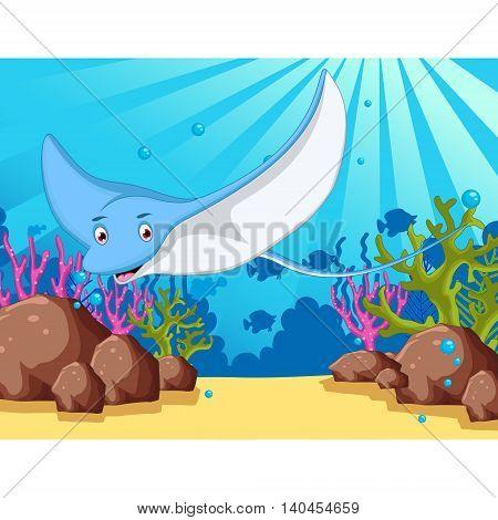 funny cartoon stingray with sea life background