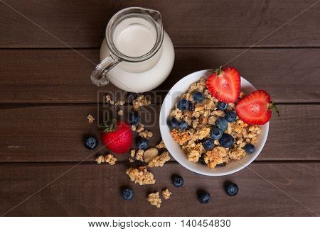 Healthy Breakfast. Granola, Milk, And Blueberries