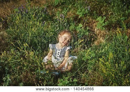little girl in a field with wildflowers .Portrait