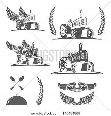Set of retro farm tractor design, badges and design elements. Vector illustration
