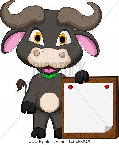 funny baby buffalo cartoon holding blank sign