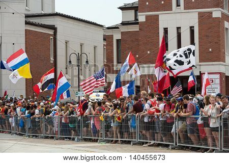 CRACOW POLAND - JULY 26 2016: World Youth Day 2016 - Pilgrims in The centre of Pope John Paul II Lagiewniki. Cracow Poland
