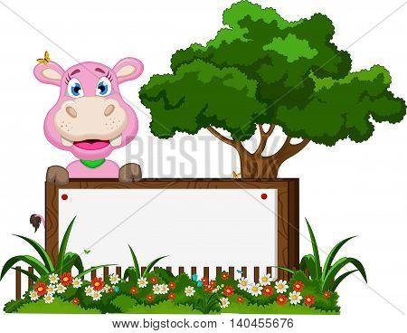 baby hippo cartoon posing with blank sign