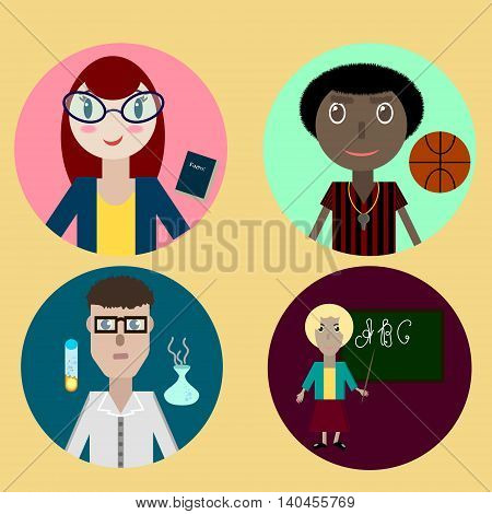flat style vector icon with school teachers