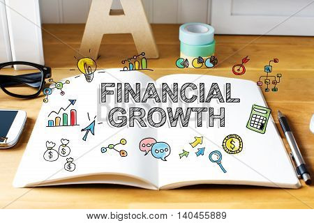 Financial Growth Concept With Notebook