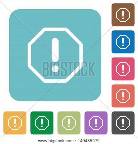 Flat error sign icons on rounded square color backgrounds.