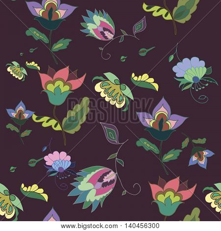 Beautiful hand drawn dark floral seamless pattern