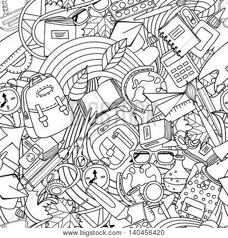 Vector Line Art School Seamless Pattern. Monochrome Doodle Education And School Supplies.