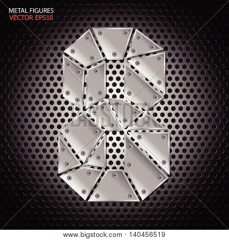 Metal figures eight vector on aluminum background