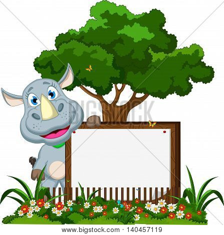 Cartoon rhino holding blank board with forest landscape background
