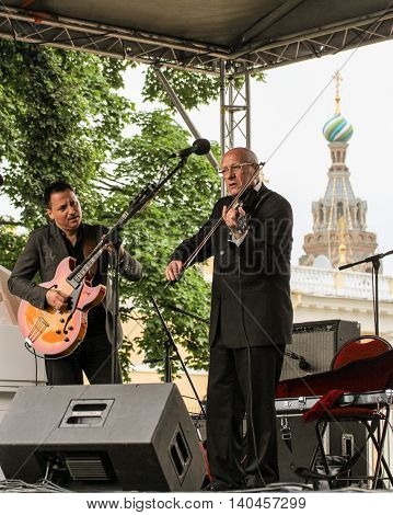St. Petersburg, Russia - 23 July, Musicians in the open air, 23 July, 2016. Speech by David Goloschekin with his jazz group on the Arts Square in St. Petersburg.