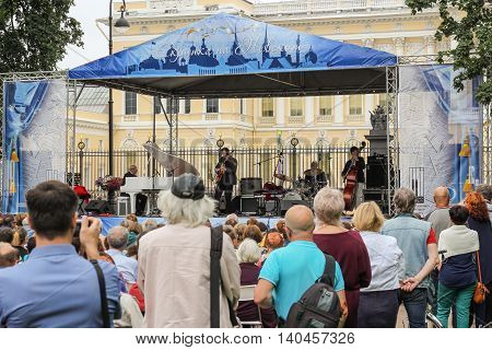 St. Petersburg, Russia - 23 July, Jazz in the garden, 23 July, 2016. Speech by David Goloschekin with his jazz group on the Arts Square in St. Petersburg.