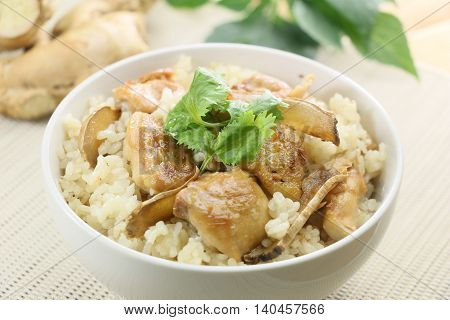 Fried rice with chicken and herbs in white bowl in restaurant