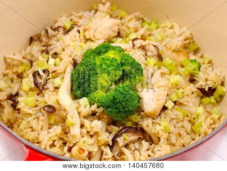 Fiber live mushroom risotto with fried rice and broccoli